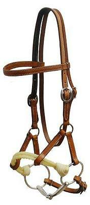 Showman Argentina leather side pull with snaffle bit! NEW HORSE TACK! TRAINING