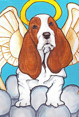 13x19 BASSET HOUND ANGEL Signed Dog Art PRINT of Original Painting by VERN