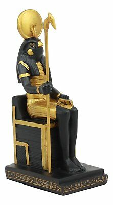 Ancient Egyptian Bird Horus Falcon Ra Sitting On Throne Deity God Figurine 6.75""