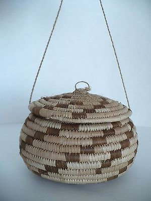 Native American Handmade Small Pima Weave Covered Basket with Lid