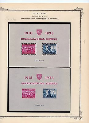 Lithuania Lot F Scott B43 - B54 + 3 SS MH on 3 Pages - Great Issues 1938-40 |