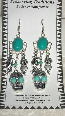 Day of the Dead Earrings Turquoise ,dancers & skull handmade - Yaqui silver
