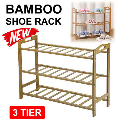 3 Tier Layer Shoe Rack Bamboo Wooden Shelf Stand Storage Organizer