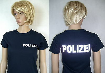 POLIZEI Damen T-Shirt in marineblau / Text in silberreflex, XS/34 bis XXL/44