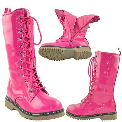 Kids Knee High Boots Shiny Patent Lace Up Combat Zipper Closure Shoes Pink Girls