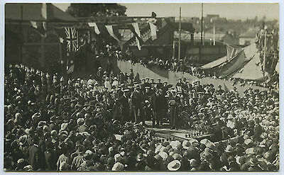 1920 RP POSTCARD PRINCE OF WALES AUST ROYAL VISIT BOWDEN RAILWAY STATION SA a8.