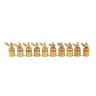 10 Pcs Gold Plated Binding Post Amplifier Speaker Audio Connector Terminal