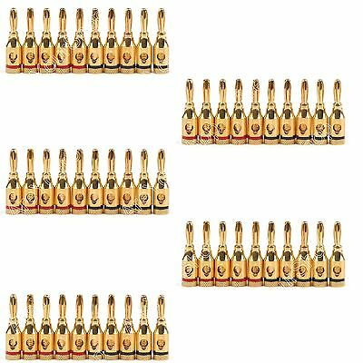 50 Pcs Musical Audio Speaker Cable Wire 4mm Gold Plated Banana Plug Connector