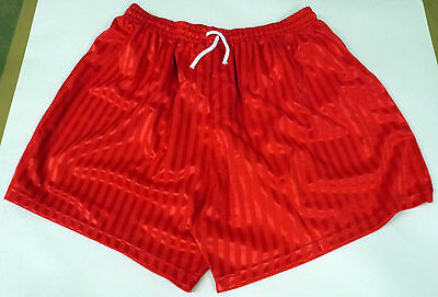 Lindop Sports Barcelona Style Football Shorts Red Adults Small XL Shadow Stripe
