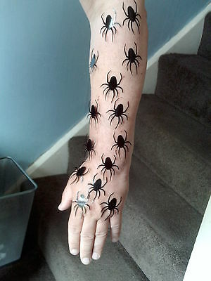 40 x Spider mini stickers   gothic scary funny creepy spiders Halloween