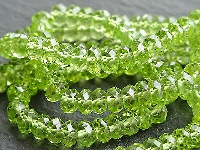 "QUALITY HAND FACETED PERIDOT 4.5mm rondelles, 15.5"", 150 beads"