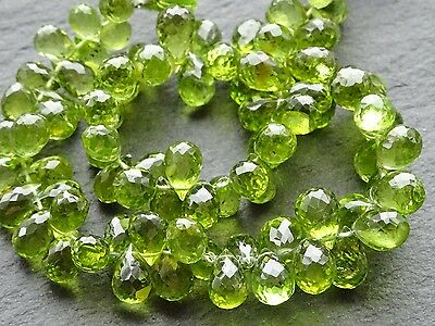 "HAND FACETED PERIDOT briolettes, 164ctw, 5x7mm - 6x9mm, 9"", 86 beads"
