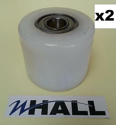 X2 Nylon D82 x 70mm pallet truck Tandem load rollers/ wheels inc. D17mm bearings