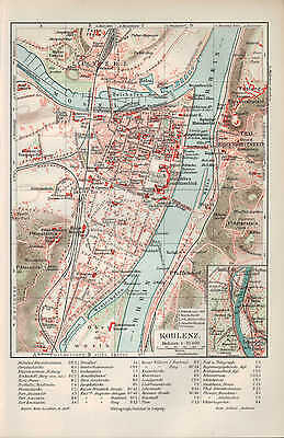 landkarte city map 1907 stadtplan koblenz fluss rhein. Black Bedroom Furniture Sets. Home Design Ideas