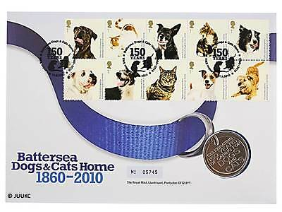 Royal Mint 2010 Battersea Dogs & Cats Home Medal/Coin Cover BU Stamps GB