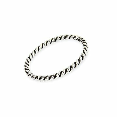 Sterling Silver 2mm Stacking Twisted Rope Ring  Various Sizes G-Z