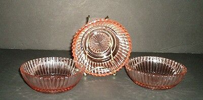 Anchor Hocking Queen Mary Pink 4 Inch Bowls