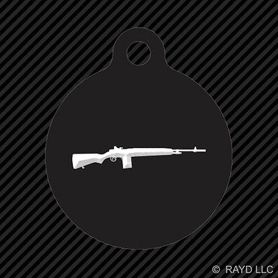 M1A Carbine Keychain Round with Tab dog engraved many colors rifle m2 m3 m1