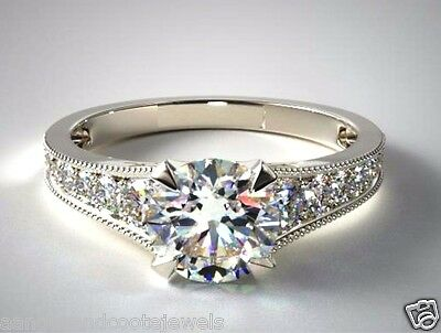 2.00 ct Brilliant Cut Forever Diamond Engagement Ring 14k Solid White Gold