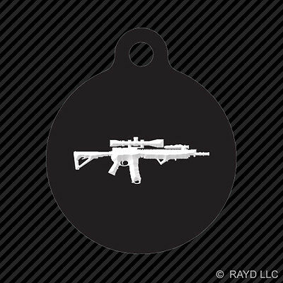 AR15 M16 Keychain Round with Tab dog engraved many colors ar-15 m-16 2a #5