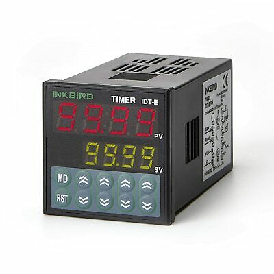 Inkbird IDT-E2RH 110-240V Digital Twin Timer Relay Time Delay Relay Switch Black