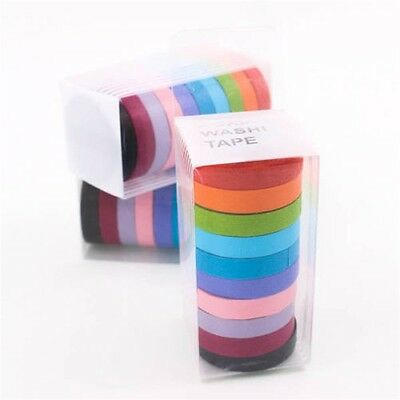 10 x Colorful Candy Masking Tape Mini Set Colour Box 8MM Washi Decor Sticky JL
