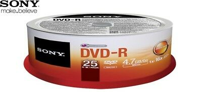 SONY DVD-R 4.7GB 16x Speed 120min Recordable DVD Disc Spindle Pack 25 (25DMR47SP