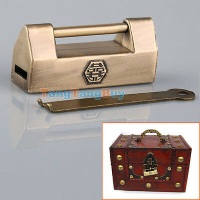 Chinese Retro Brass Padlock Wedding Jewelry Box Padlock Lock + Key Old Style