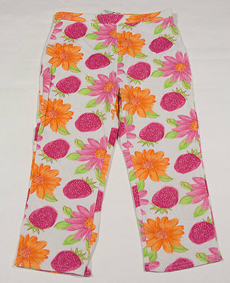 Circo Girls M 7 8 Cropped Leggings Pink Orange Flowers & Fruit Strawberry Floral