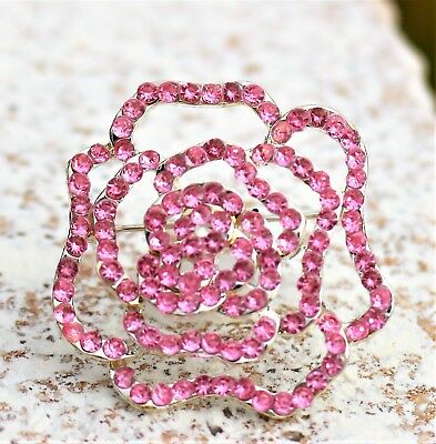Victorian style pink rose silver tone acrylic stones BROOCH