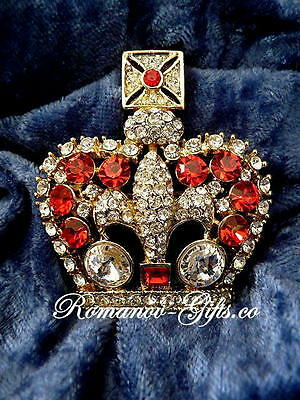 Imperial State Crown of Queen Victoria Pin Brooch Set w/ Ruby & Diamond crystals