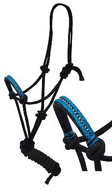 Showman Cowboy Knot Rope Halter 7' Lead & Teal Nylon Wrapped Diamond Noseband