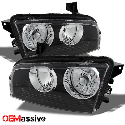 Black 2006-2010 Dodge Charger Replacement Headlights Headlamps Pair Left + Right