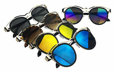 Wholesale Lots 12 Pairs Plastic Aviator Sunglasses-Clear Frames W/ Colorful Lens
