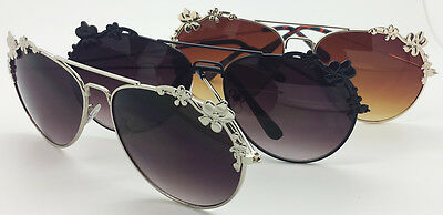 Wholesale Lots 12 Pairs Woman Fashion Aviator Style With Flowers Sunglasses-Hot