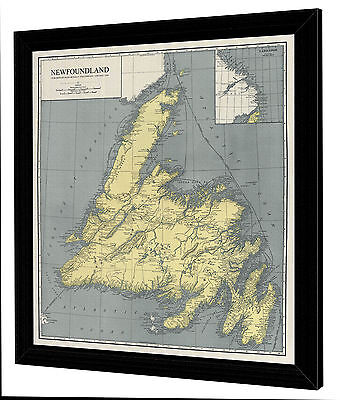 "Framed 1924 Antique Map of NEWFOUNDLAND Canada - On Canvas - 29"" x 32"""