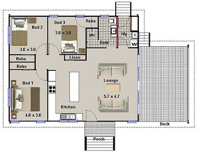 Home Design:114 Freedom-3 BED TIMBER FLOOR-CONSTRUCTION HOUSE PLANS + CAD FILES