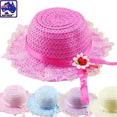 Kid Children Beach Sun Straw Hat Cap Lace Brim Ribbon Flower Summer CAHAT 61