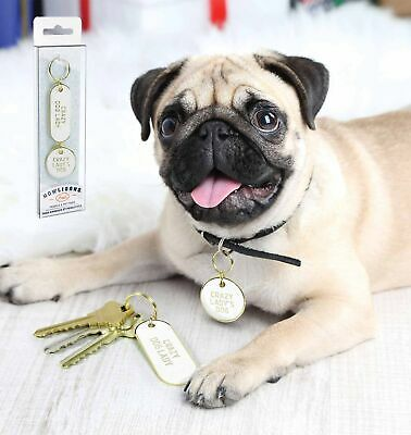 KEYCHAIN AND PET TAG SET - CRAZY DOG LADY - By Fred **NEW**