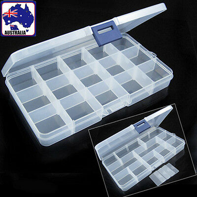 Clear Plastic Storage Box 15 Compartments Jewelry Craft Container HBCAS 1514