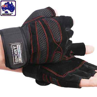 Unisex Gloves Anti-Slip Fingerless Outdoor Leather Protect Wrist CGLOV 9765