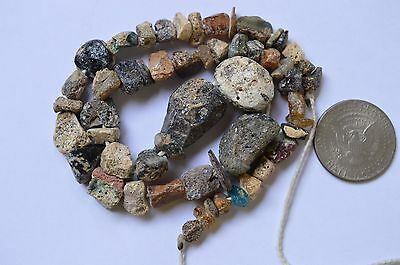 Ancient Roman Glass Beads 1 Strand Brown And Blue 100-200 Bc 0443