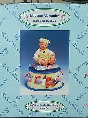 Madame Alexander  Yellow Rosebud Rotating Music  Box - Brand New!