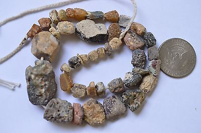 Ancient Roman Glass Beads 1 Strand Brown And Blue 100-200 Bc 0445