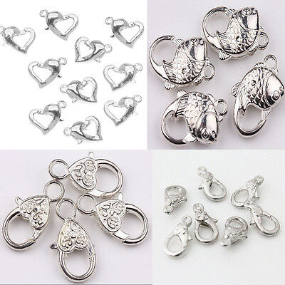 New Silver Plated Heart Fish Lobster Clasps Claw Jewelry Fastener Hook 5 Style
