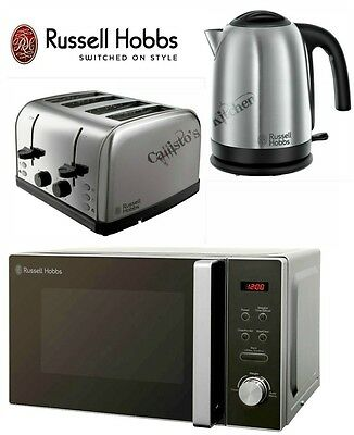 Stainless Steel Microwave Kettle and Toaster Set Russell Hobbs Futura Cambridge
