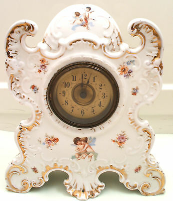 Porcelain Case Gilded Cherubs & Flowers Victorian Timepiece Mantle Clock GWO