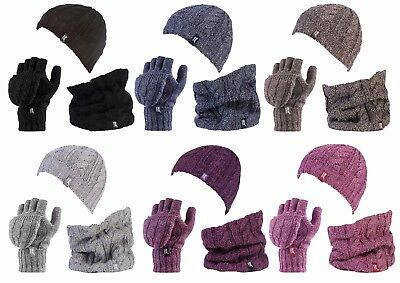 Heat Holders - Ladies Thermal Hat Neck Warmer Converter Fingerless Gloves Set