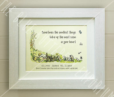PERSONALISED Winnie the Pooh FRAMED QUOTE PRINT, Baby/Birth Nursery Picture Bear