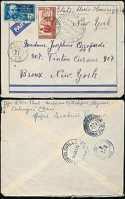 FRENCH AFRICA 1941 AEF BOZOUM AIRMAIL to USA via LEOPOLDVILLE